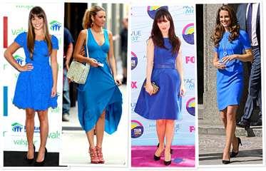 Синее платье образ фото
