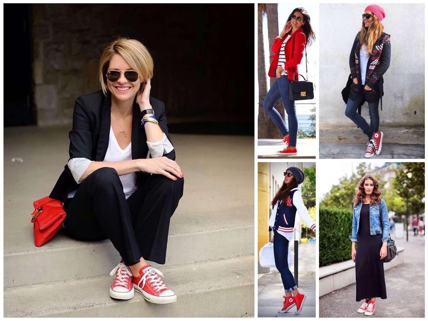 красные кеды с чем носить фото девушка