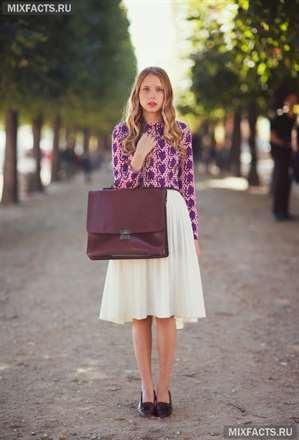 Белая юбка до колен фото