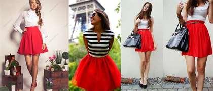 Что носить с красной юбкой солнце фото