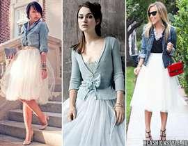 С чем носить юбку из фатина бежевую