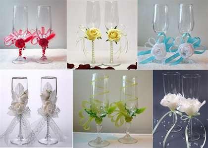 Украшение свадебных бокалов своим руками 273