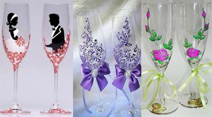Фужеры на свадьбу красками