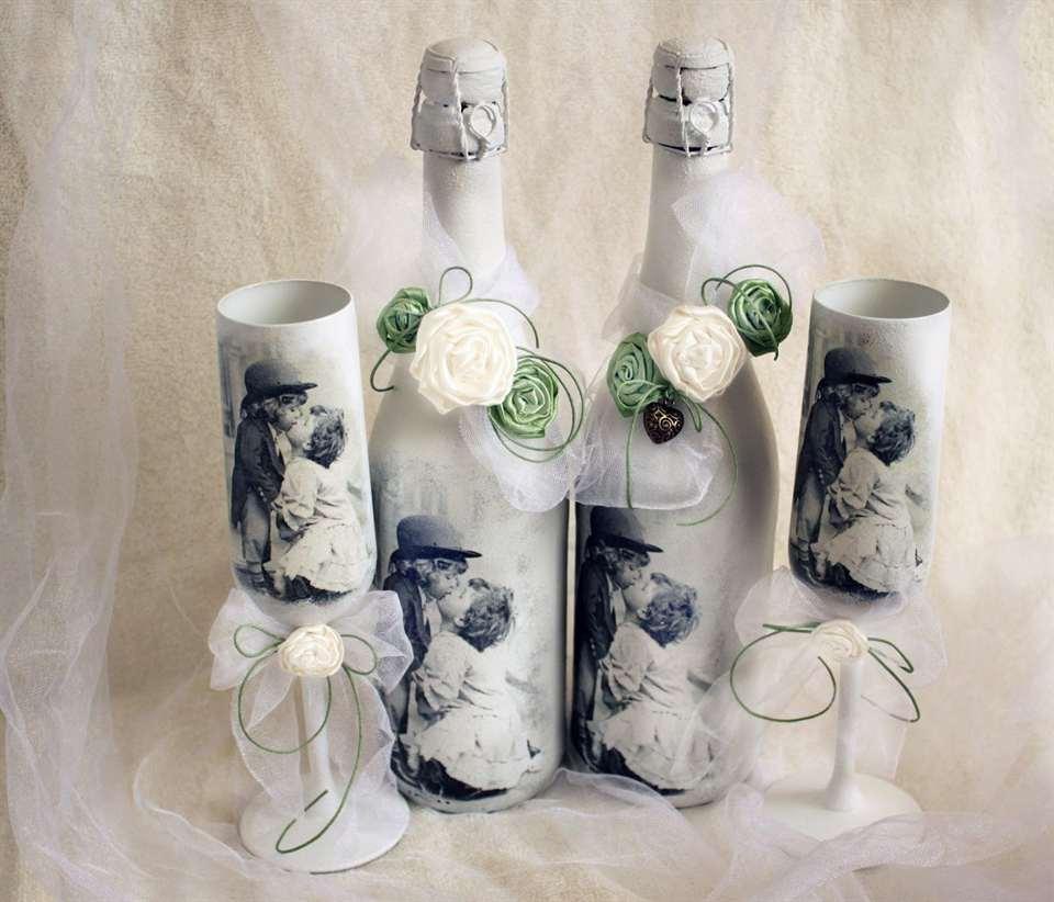 Мастер класс для оформления свадебного шампанского
