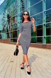 08ea59a3c73 С чем носить платье в полоску