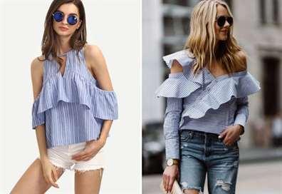 Блузка с воланом внизу